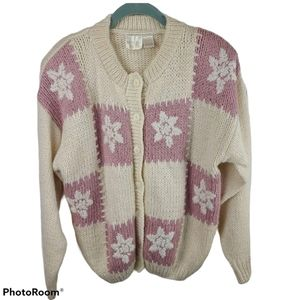 Needles & Yarn Ivory & Pink Cardigan Women's L VTG